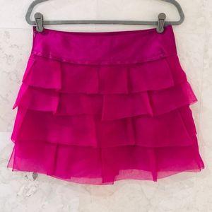 BCBGMaxAzria {6} Mini Skirt Silk Tiered Hot Pink